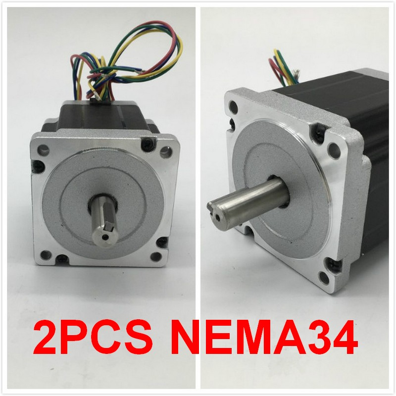 2PCS Stepper Motor Nema34 86*80mm 4A 4Nm 580Oz-in 2ph 4 Wires High Torque for CNC Router Lathe2PCS Stepper Motor Nema34 86*80mm 4A 4Nm 580Oz-in 2ph 4 Wires High Torque for CNC Router Lathe