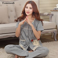 New Women's Pajamas Summer Cotton Short  Sleeve Trousers Sleepwear Ladies Pyjamas Sets Plus Size 3XL