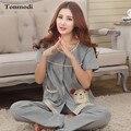New Women's Pajamas Summer Cotton Short  Sleeve Trousers Sleepwear Ladies Pyjamas Sets Plus Size 3XL