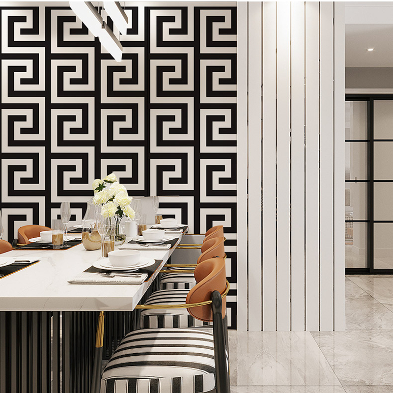 Black and Gold Geometric Wallpaper Rolls Black White Luxury Large Greek Key Wall Papers Home Decor Wallpaper For Living Room