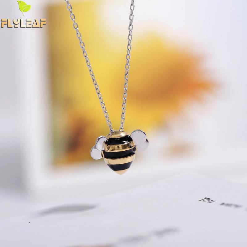 Flyleaf 925 Sterling Silber Niedlichen Bienen Halsketten & Anhänger Für Frauen Hohe Qualität Dame Sterling-silber-schmuck Collares Mujer