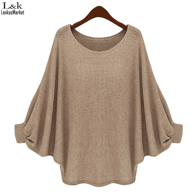 FANALA Women Sweater Loose Sweaters and Pullovers Women Loose Batwing Sleeve Shirt Knit Sweater Top Pullover Maglioni Donna