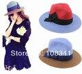 2016 летний новый прибытие вс шляпы для женщин сладкий лук соломенная шляпа женская одежда пляж шляпа лоскутное топпер cap горячие продажа
