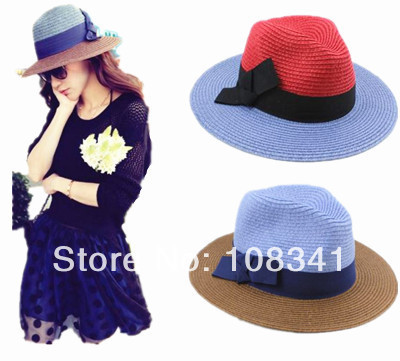 2016 summer new arrival sun hats for women sweet bow straw hat ladies fashion beach hat patchwork topper cap hot sale