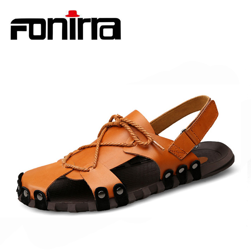2018 Cow Leather Men Sandals Fashion Slip On Breathable Male Beach Shoes Gladiator Plus Size 38-46 Men Sandals FONIRRA 825