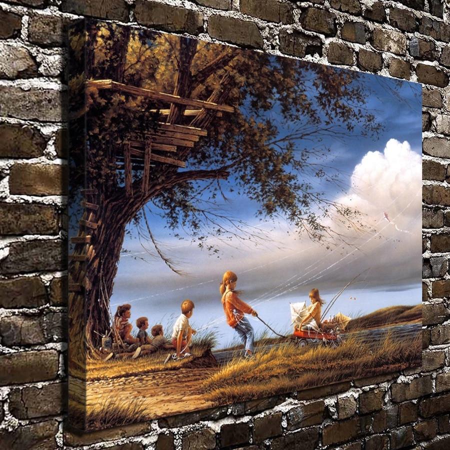 1300 Terry Redlin Artwork Spring Fever Scenery. HD Canvas Print Home ...