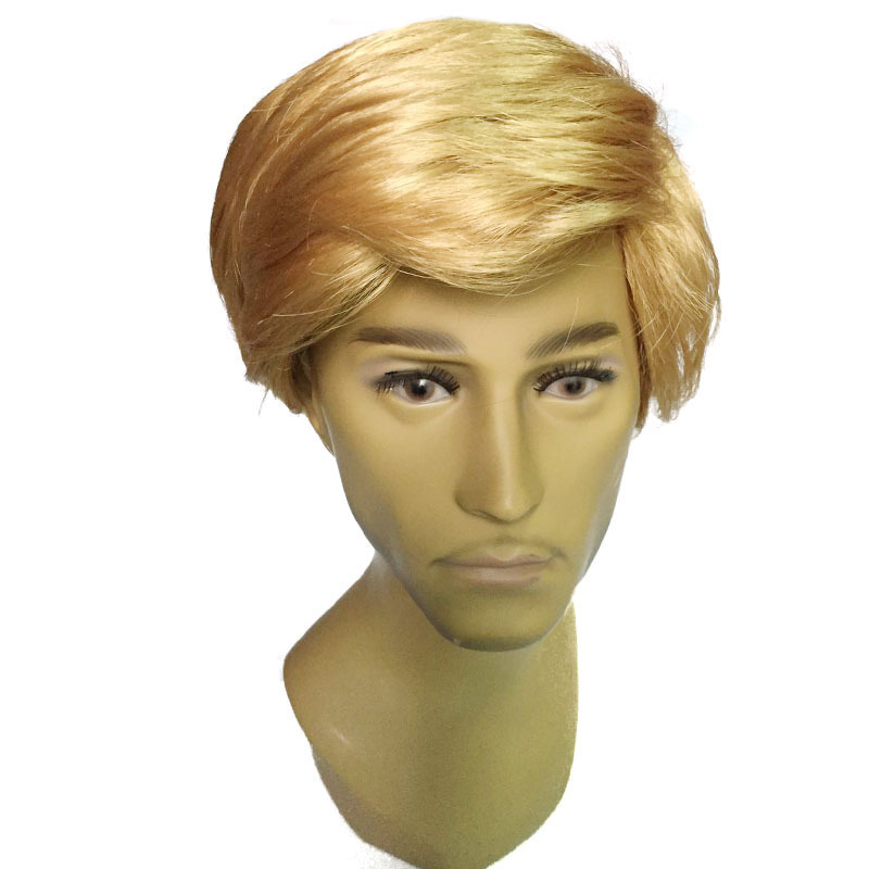 Novelty Toy Cos play Man Head Wig Golden Donald President Man Head Short Hair Wearing Trump Wig Special Party Costumes Accessory