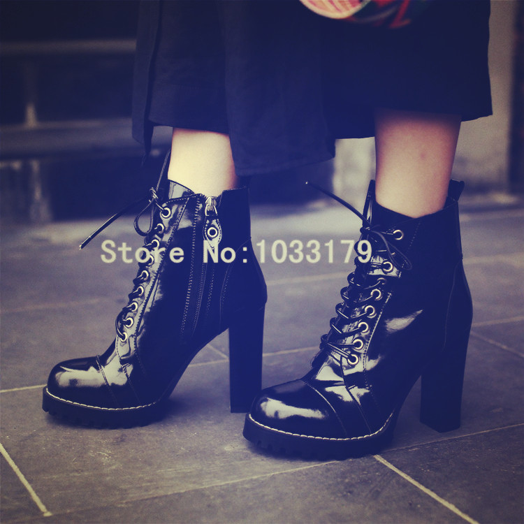 Brand Punk Women Ankle Boots Patent Leather Platform Short Booties Martin High Heels Women Pumps Lace Up Militares Botines Mujer amazing designer booties patent leather patchwork ankle boots chinel high heels zipper autumn motorcycle boots for women pumps