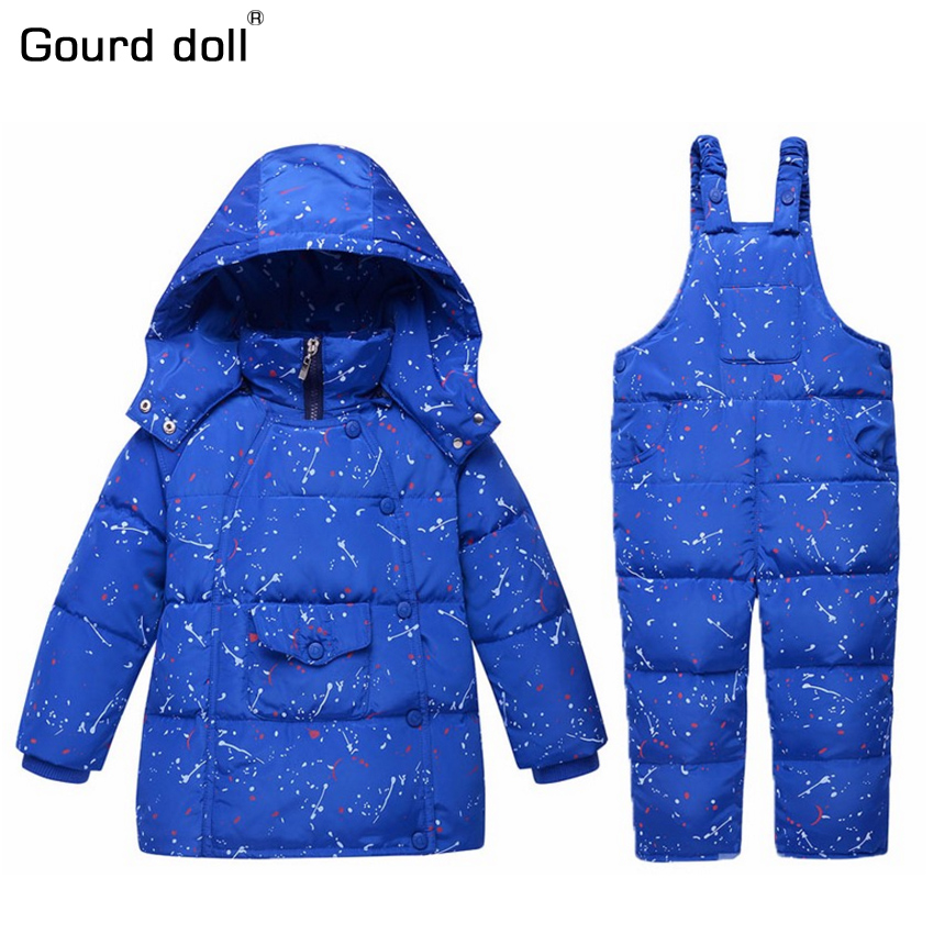 Gourd doll 2017 Baby boys girls winter clothing set 90% thicken duck down snow wear kids overalls for infant down & parkas