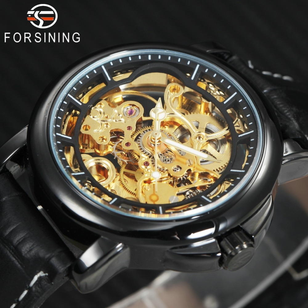 FORSINING Top Brand Luxury Auto Mechanical Watch Men Leather Strap Golden Skeleton Carved Movement Fashion Classic Wrist Watches winner mens watches top brand luxury leather strap skeleton skull auto mechanical fashion steampunk wrist watch men gift box