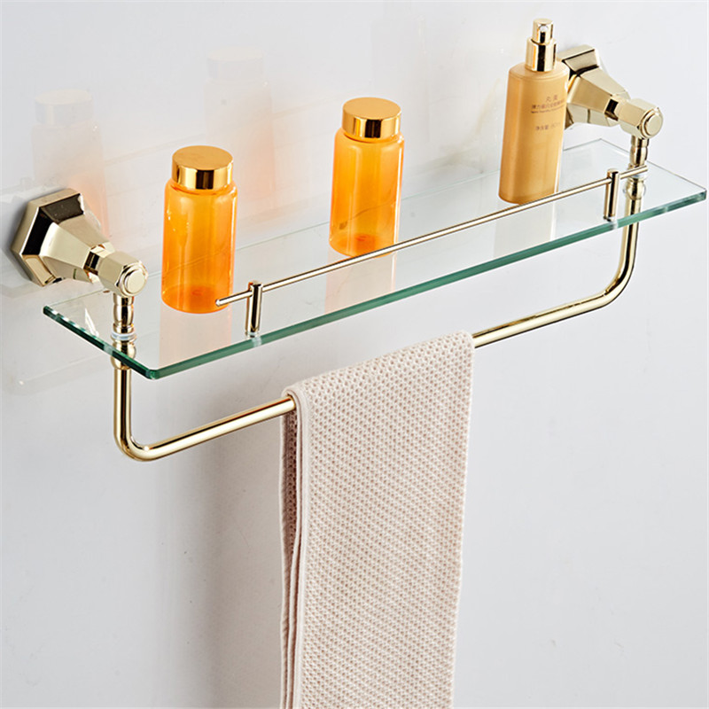 AUSWIND vintage European towel shelf gold or black soild brass glass shelf Hexagonal base wall mount bathroom hardware set