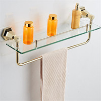 AUSWIND Vintage European Towel Shelf Gold Or Black Soild Brass Glass Shelf Hexagonal Base Wall Mount