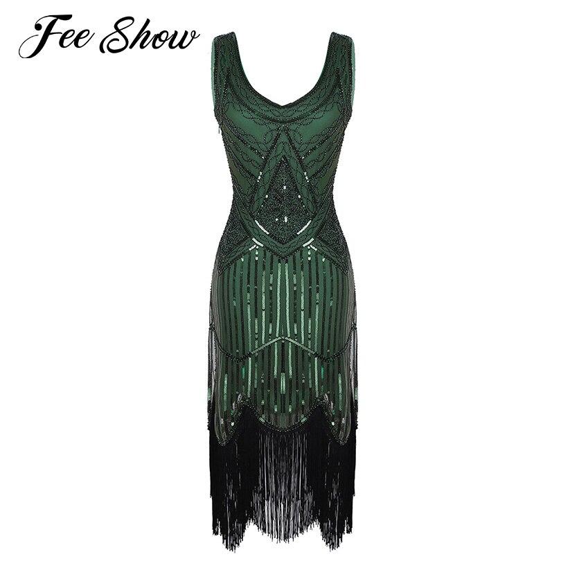 Feeshow Womens Shiny Sequins V-Neck Sleeveless Dress Fringed Tassels Hem Knee Length Flapper Dress Vintage Cocktail 1920s Dress