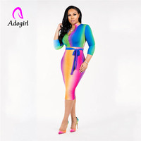 Adogirl macaron color deep v neck bodycon waist bandage sheath lady dress pull over women autumn slim dress