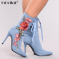 LALA IKAI Retro Embroider Short Boots Women Fashion Flowers Lace Up Shoes For Women Autumn Party