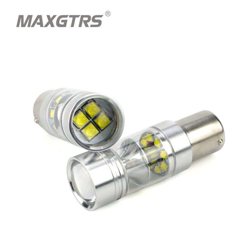 2x High Bright S25 BA15S 1156 100W CREE Chip XBD LED Reverse Lights Fog Lamp P21W DRL Daytime Running Light Stop Backup Lights самые популярные браслеты из резиночек