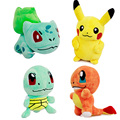 4 Unids/lote Pokemo Felpa Pikachu Juguetes & Bulbasaur y Squirtle y Charmander Anime Película de Juguete de Felpa Animales de Peluche muñecos de Peluche