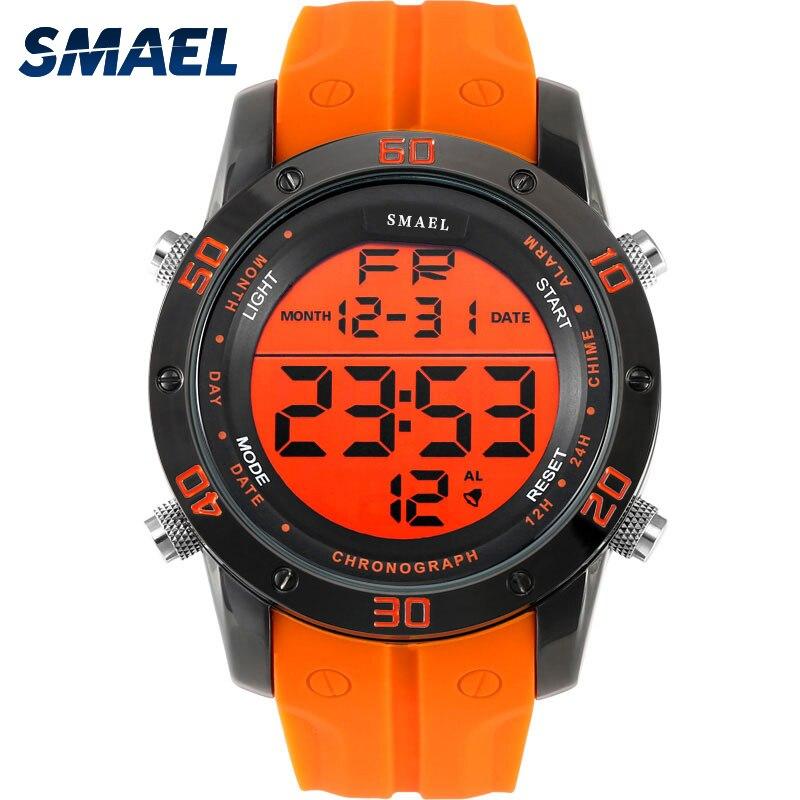 Fashion Watches Men Orange Casual Digital Watches Sports