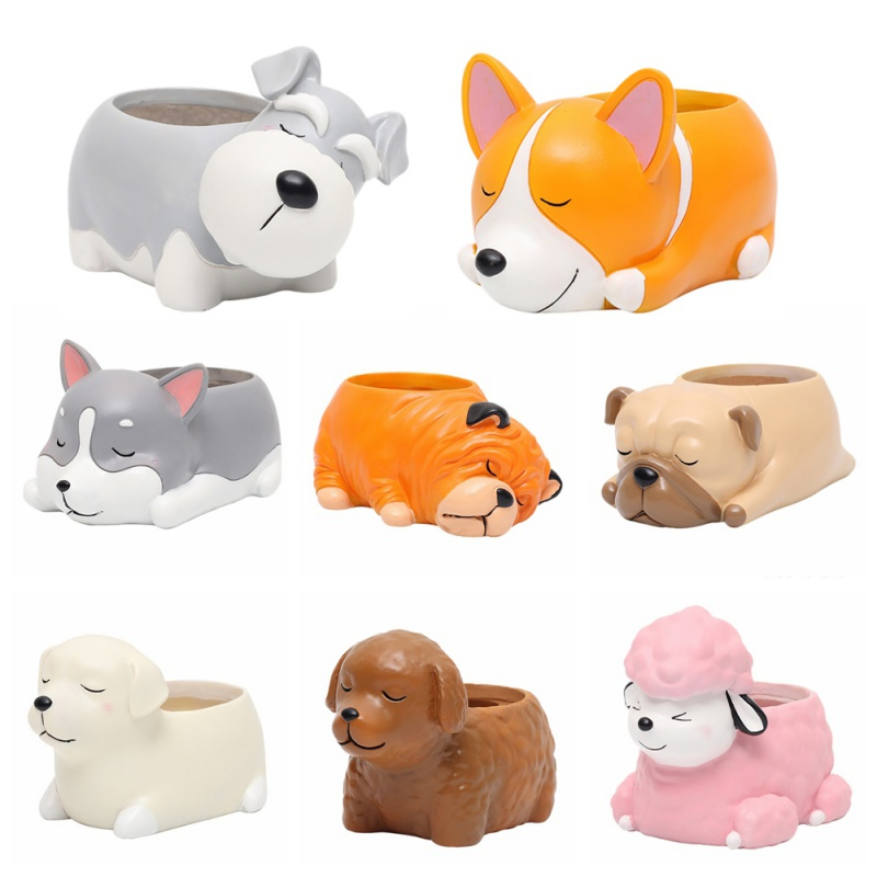 Cartoon Dogs Creative Flower Vase Puppy Resin Planter For Succulents