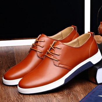 Men Shoes Casual Leather Trendy Black Blue