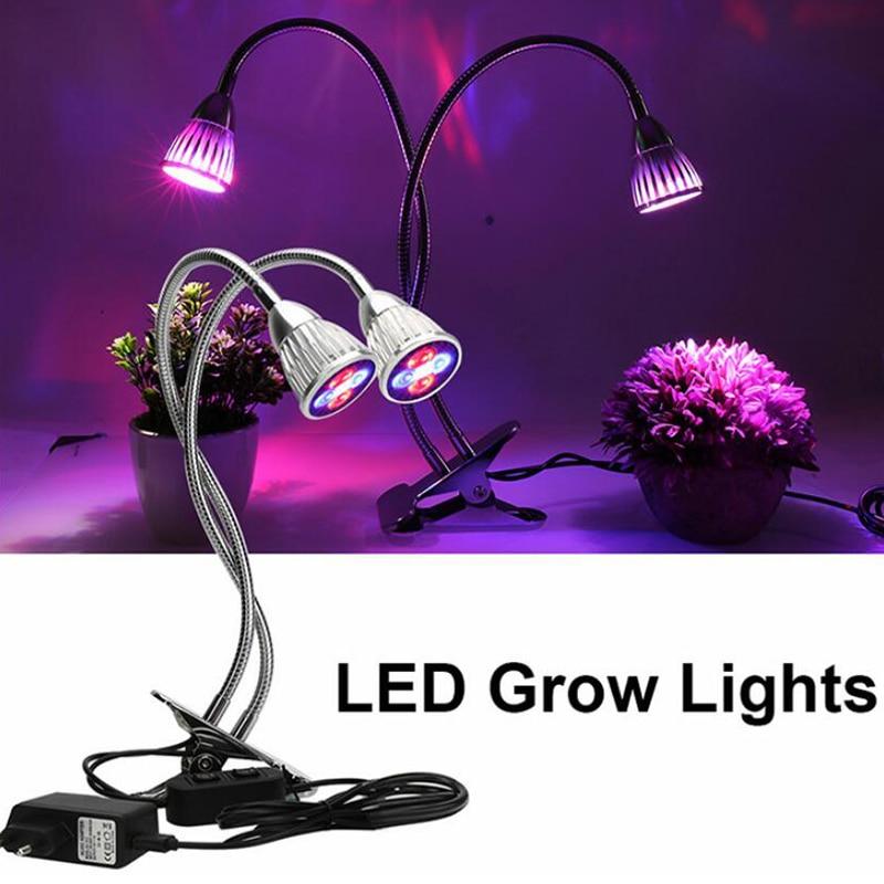 Dual Head 5W Full Spectrum UV IR Led Lamp 360 degree Flexible Gooseneck for Indoor Plants Seedling Growing Blooming Fruiting