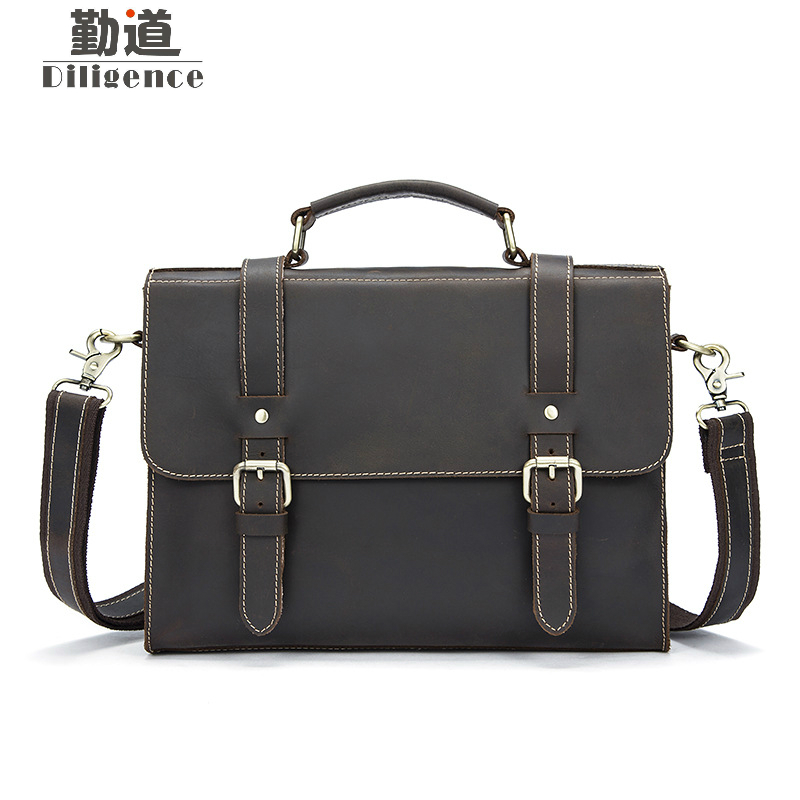 Men Bags Crazy Horse Leather Casual Briefcase Portfolio Genuine Leather Man Business Bag Messenger Shoulder Laptop crazy horse genuine leather men bags vintage loptop business men s leather briefcase man bags men s messenger bag 2016 new 7205