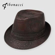 Fibonacci 2017 New Fedoras Snakeskin Texture Leather Jazz Small Fedora Hat Men Women's Hats Fashion Popular Vintage Caps