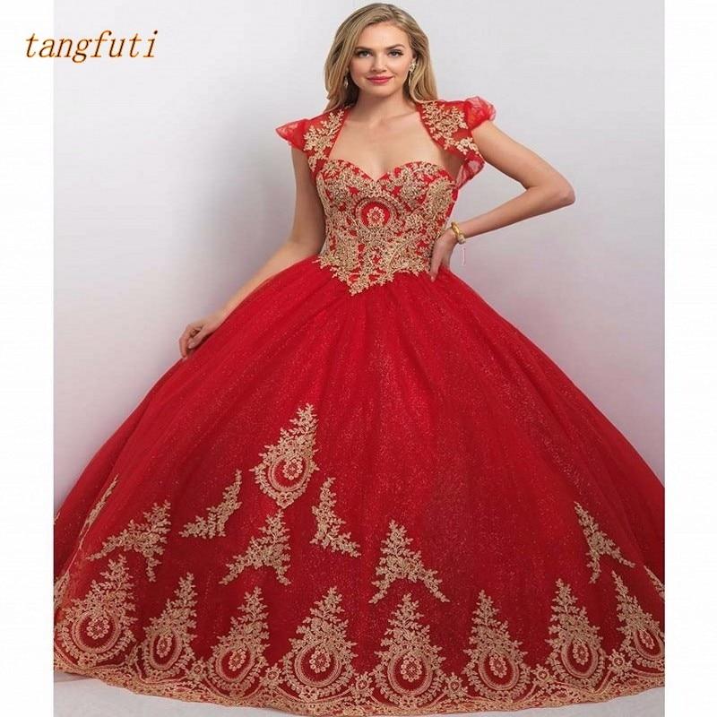 Robe de bal princesse rouge robes Quinceanera avec veste 15 ans perles Tulle robe de bal Debutante robe douce 16