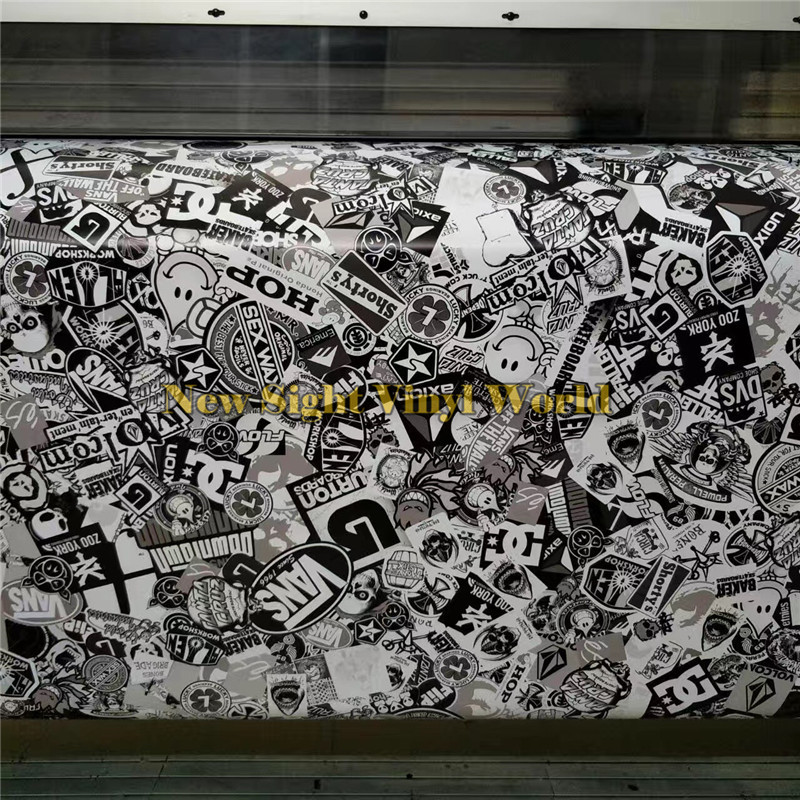 Premium Sticker Bomb Black White Sticker Bombing Vinyl Roll Film Air Bubble Free Vehicle Wrap Graphics Car Wrapping bimast bomb premium купить челябинск