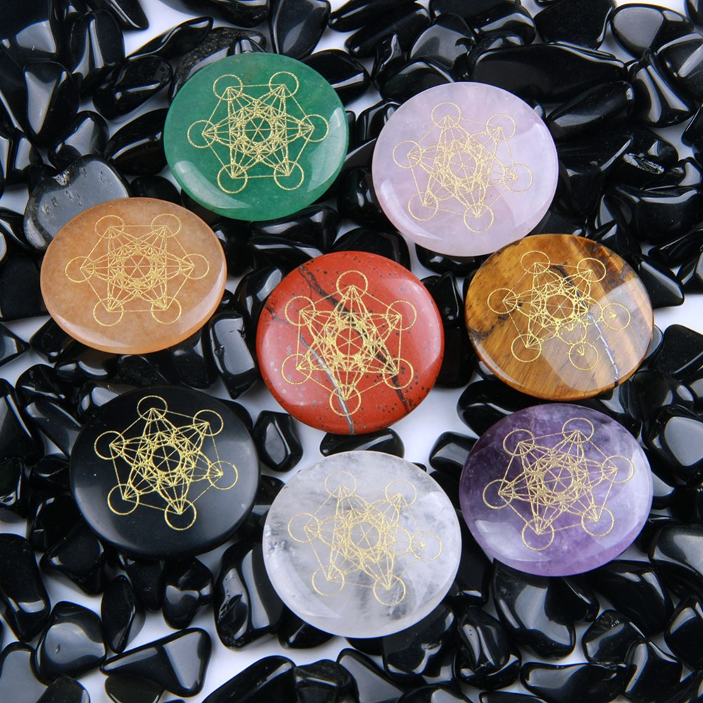 Natural Round Chakra Palm Stones Metatron/'s Cube Symbol Crystal Stone 1pc