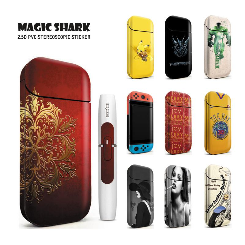 Magic Shark New Pikachu Transformers Hunk Motorcycle PVC Bumpy E-cigarette Sticker Case Cover For IQOS 2.4 Plus