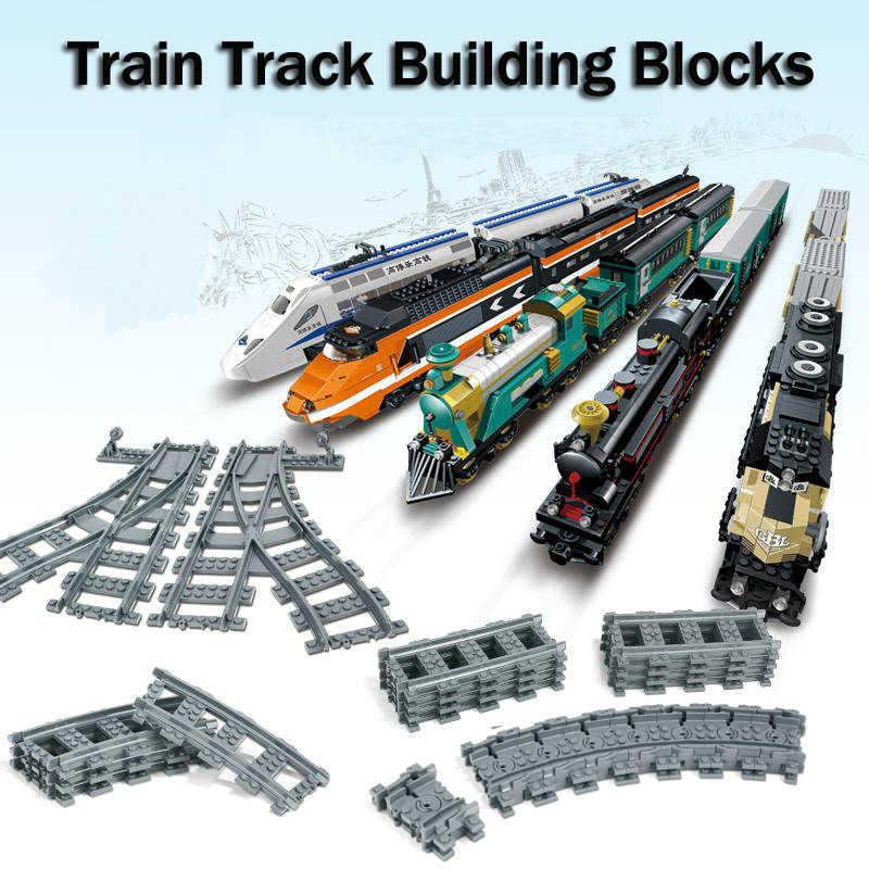 LWKO ville Train chemin de fer voie Flexible Rail croix droite Rails incurvés blocs de construction Legoe Train pièces briques jouets pour enfant