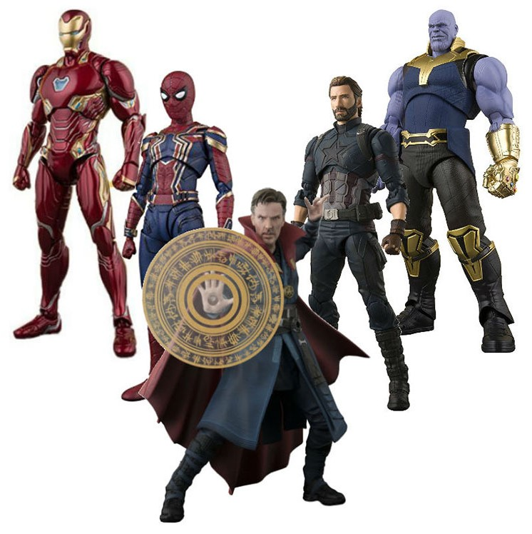 NEW hot 15cm Avengers Infinity War Thanos Spiderman Doctor Strange Captain America action figure collection toys with box