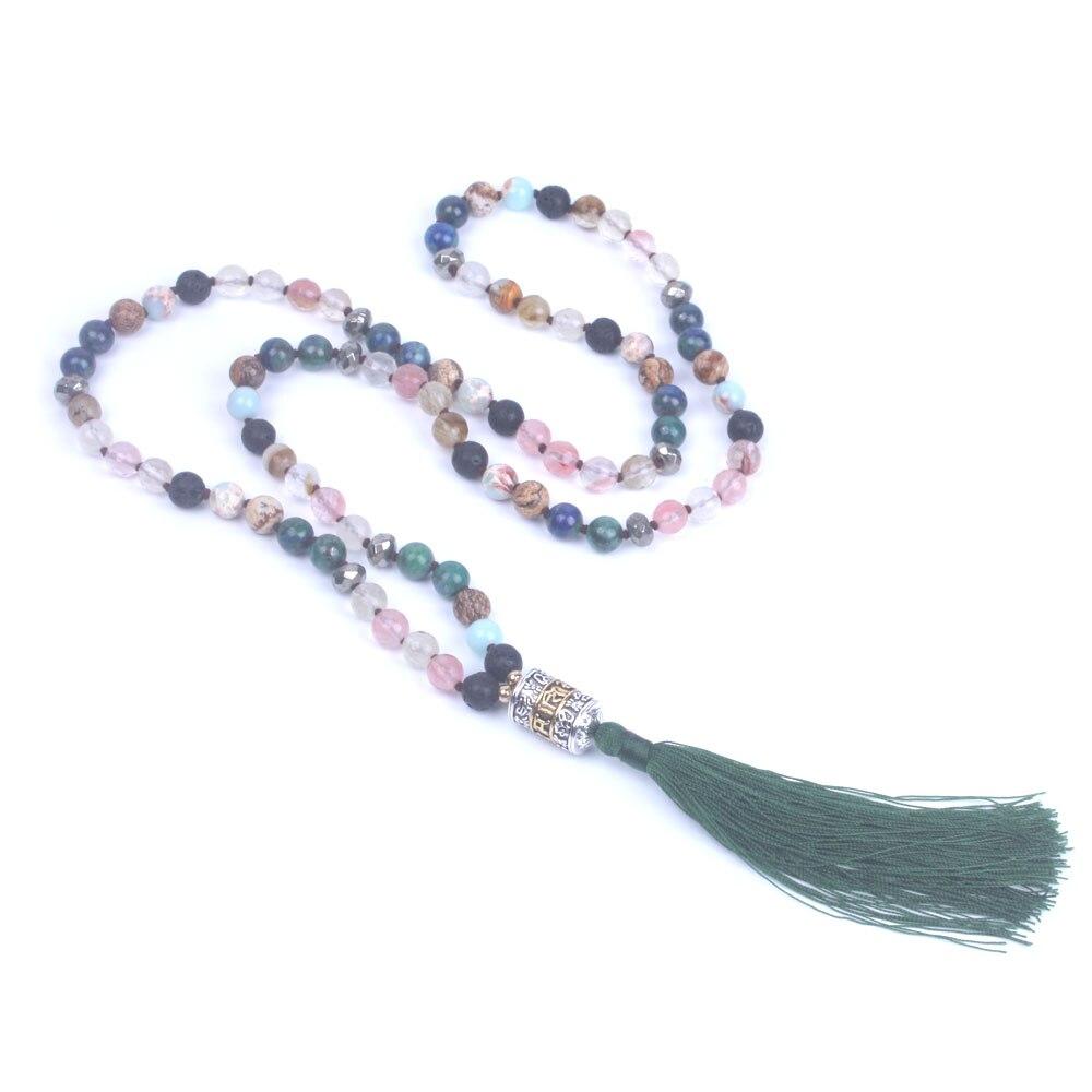 8 мм смешивать натуральный камень Бусины узел длинное ожерелье для женщин шесть слов мантра металлические бусины кисточкой ожерелье Boho юве...