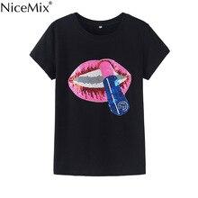 NiceMix New Brand Kawaii T-shirt Women 2017 Summer Short Sleeve Tshirts Red Lips Sequined Slim Harajuku Cotton T Shirt Tops