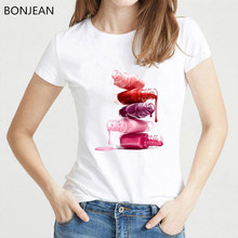 Vogue T shirt Women clothes 2019 fashion Lipstick Nail Polish T-Shirt summer tops tee shirt femme white tshirt female streetwear(China)