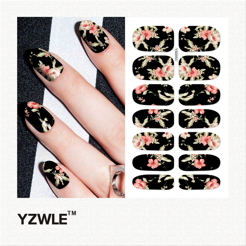 YWK 1 Sheet DIY Decals Nails Art Water Transfer Printing Stickers Accessories For Manicure Salon (YSD053) 30 pcs floral design manicure transfer nail art tips stickers decals 3d flowers beauty tickers for nails