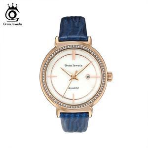 Image 1 - ORSA klejnoty luksusowe kobiety na rękę bransoletka do zegarka wodoodporny panie kwarcowy zegarki z prawdziwej skóry kryształ kamień pasek do zegarka Reloj OOW07