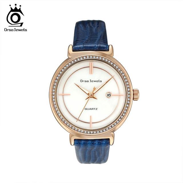 ORSA klejnoty luksusowe kobiety na rękę bransoletka do zegarka wodoodporny panie kwarcowy zegarki z prawdziwej skóry kryształ kamień pasek do zegarka Reloj OOW07
