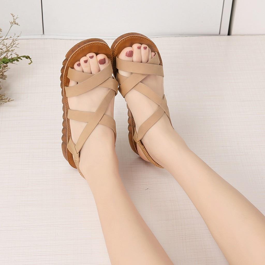 efd3309d Redonda Estudiante G30 Roma Punta Playa Para La Embarazada Mujer De Plana  Suave Verano Sandalias marrón Moda Youyedian Negro Zapatos aAxfzwqw7