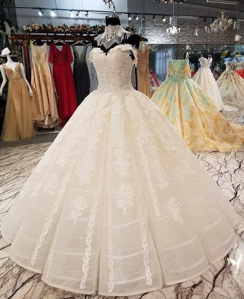 LS01440 frisado colar decoração vestido de noiva querida fora do ombro backless vestido de casamento nupcial com a beleza de luxo gargantilha