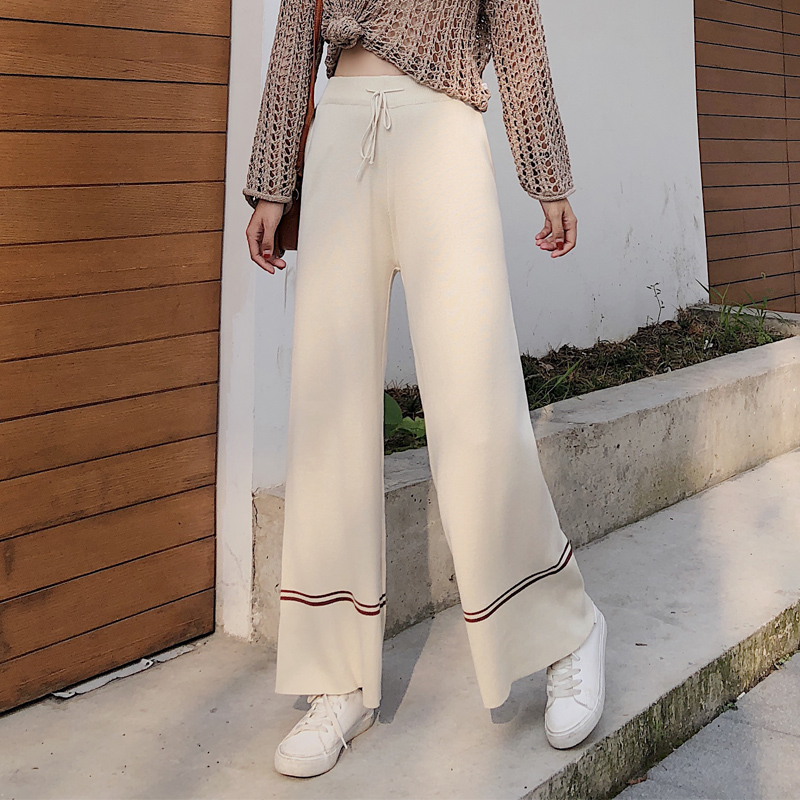 Autumn And Winter Women 2018 High Waist Loose   Wide     Leg     Pants   Casual Jersey With Striped Elegant Knitted All-Match Female   Pants