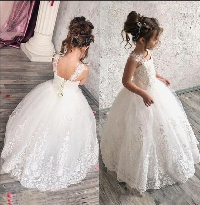 White Lace Tulle Ball Gowns Sleeveless Square Neck Lace Up Back Custom Made   Flower     Girl     Dress   For Wedding First Communion Gowns
