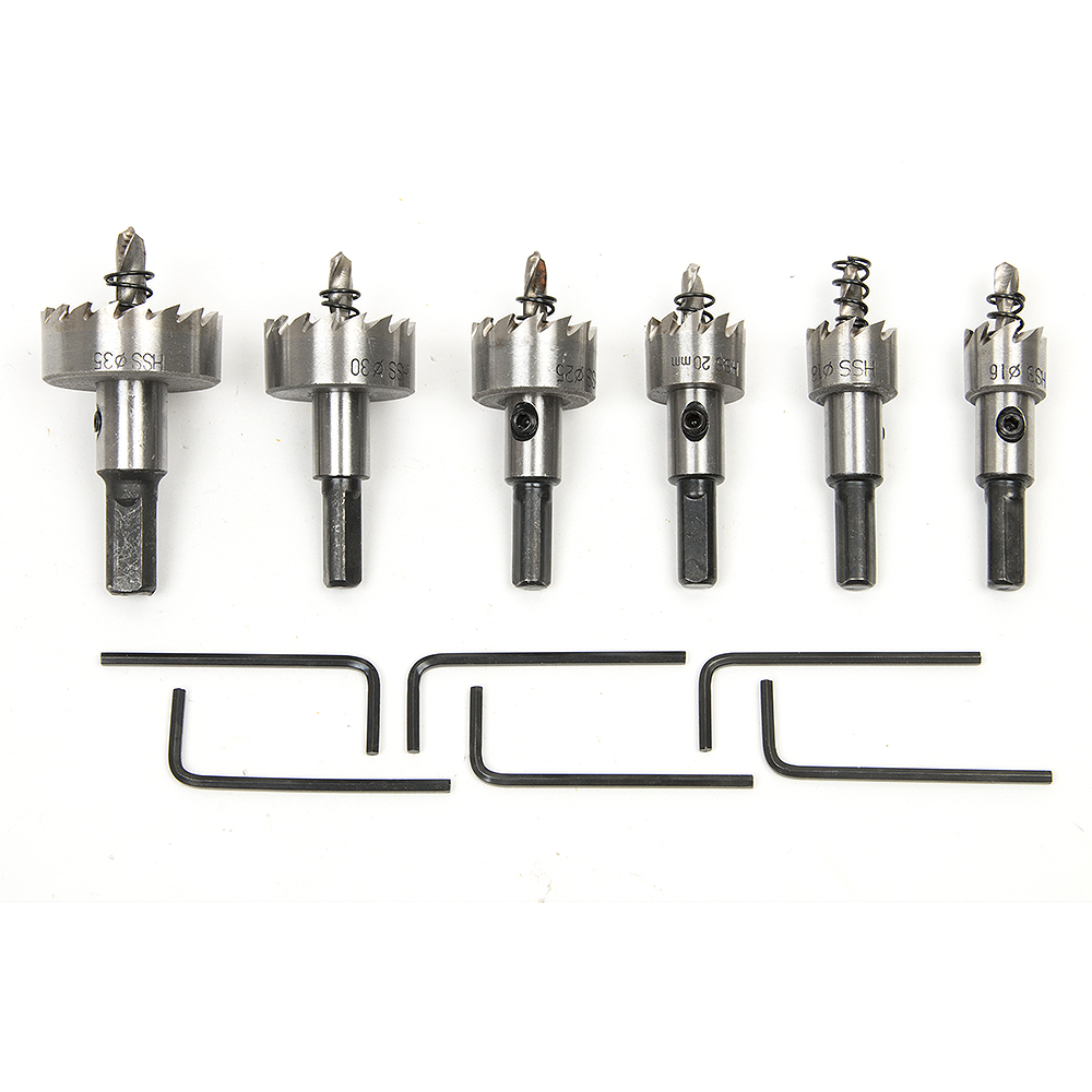 6pcs 6542 HSS Electricians Drilling Hole Saw Cutting Kit Opener For Steel Iron Hole Saw Set Heavy Duty Ceramic Drill Bit Cutter 7mm diameter shaft 27mm hss 6542 hole saw metal cutting tool twist drill bit with hex wrench