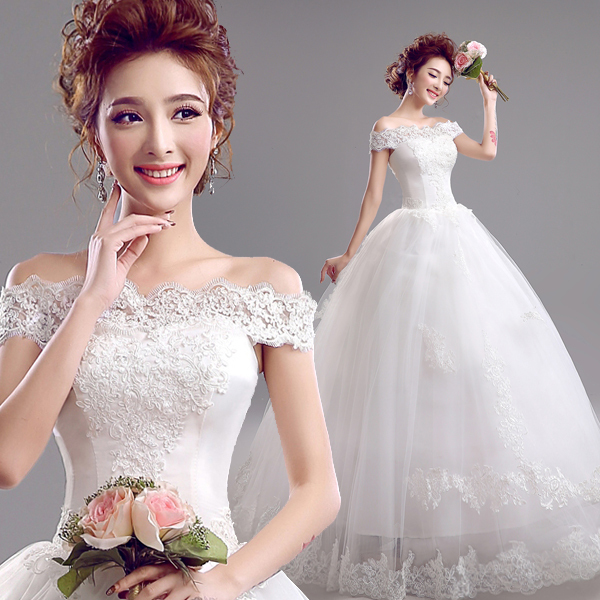 Korean Wedding Gowns: Fashion Beautiful Floor Length Korean Bride Lace Halter