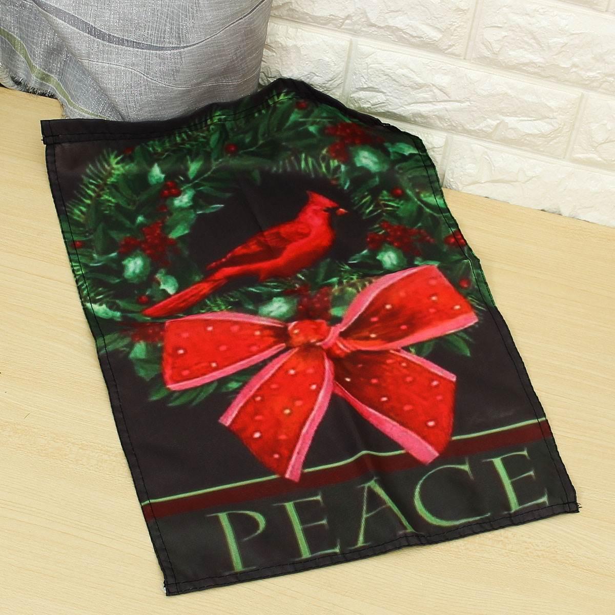 30.5x44cm christmas house garden flag cardinal wreath banner