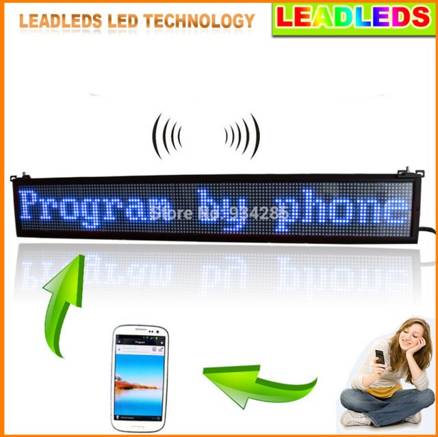 "Leadleds 40""x 6.3"" Mobile APP wifi Programmable LED Scrolling Message Sign Board BLUE Color display"