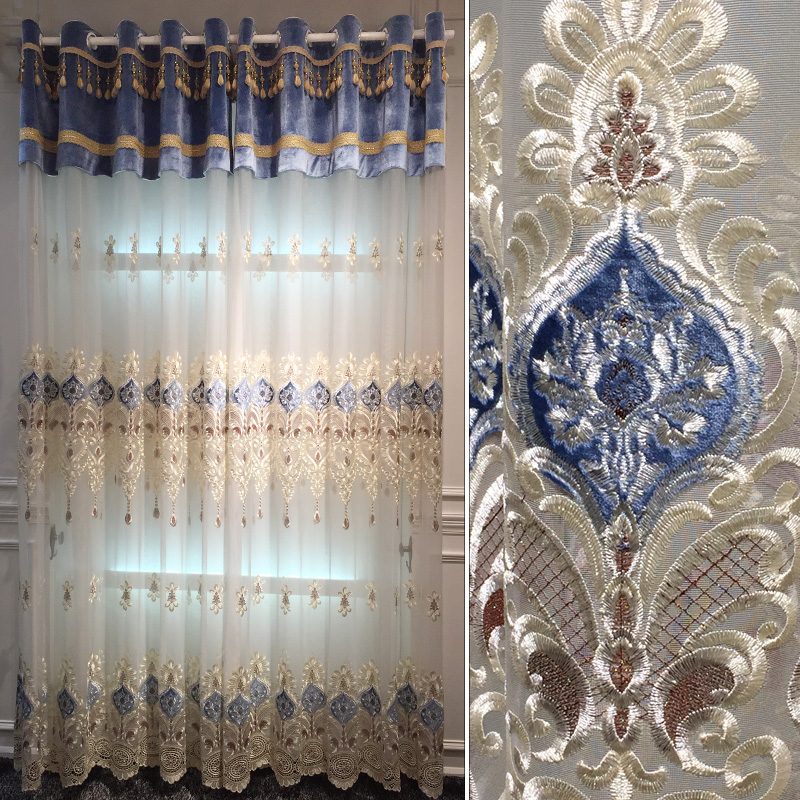 1 Pc Curtain And 1 Pc Tulle Peony Luxury Window Curtains: Embroidery Tulle Curtains For The Living Room,the Blinds