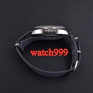 Image 4 - 40mm bliger grijze wijzerplaat keramische bezel datum saffierglas Lichtgevende Effen case Nylon strap mechanische automatische mannen horloge