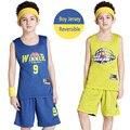 Reversível Crianças Basketball Jerseys Uniformes Crianças Equipe Esporte Trainning Treino Menino Camisa & Shorts Conjuntos Personalizados (10 Cores)